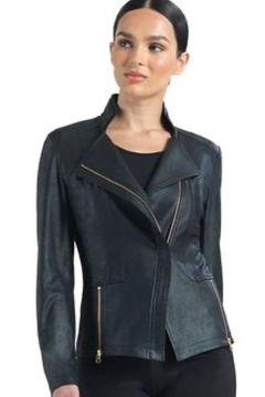 Clara Sunwoo Classic liquid leather knit jacket - Product List Image