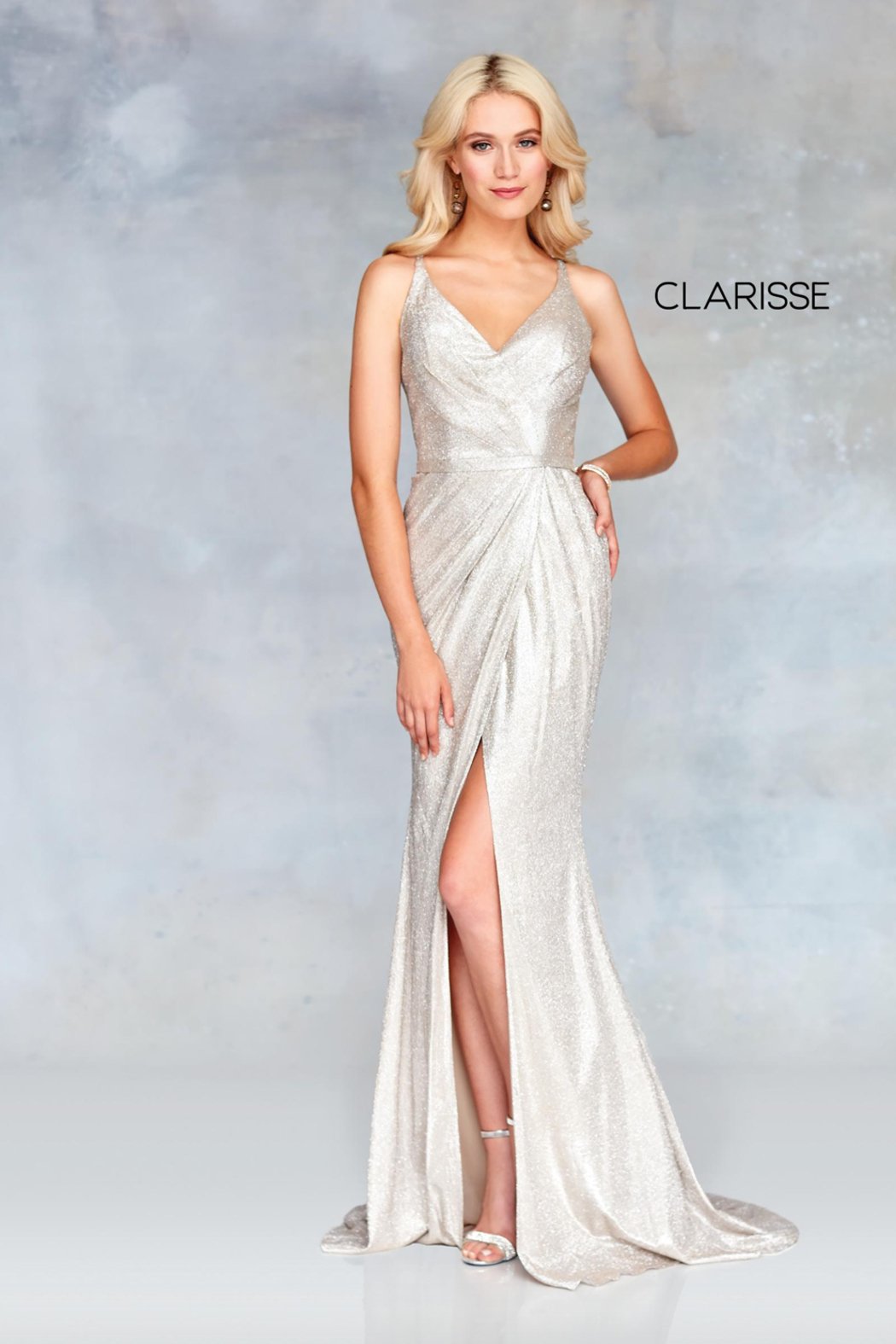 CLARISSE Classic Metallic Gown - Front Cropped Image