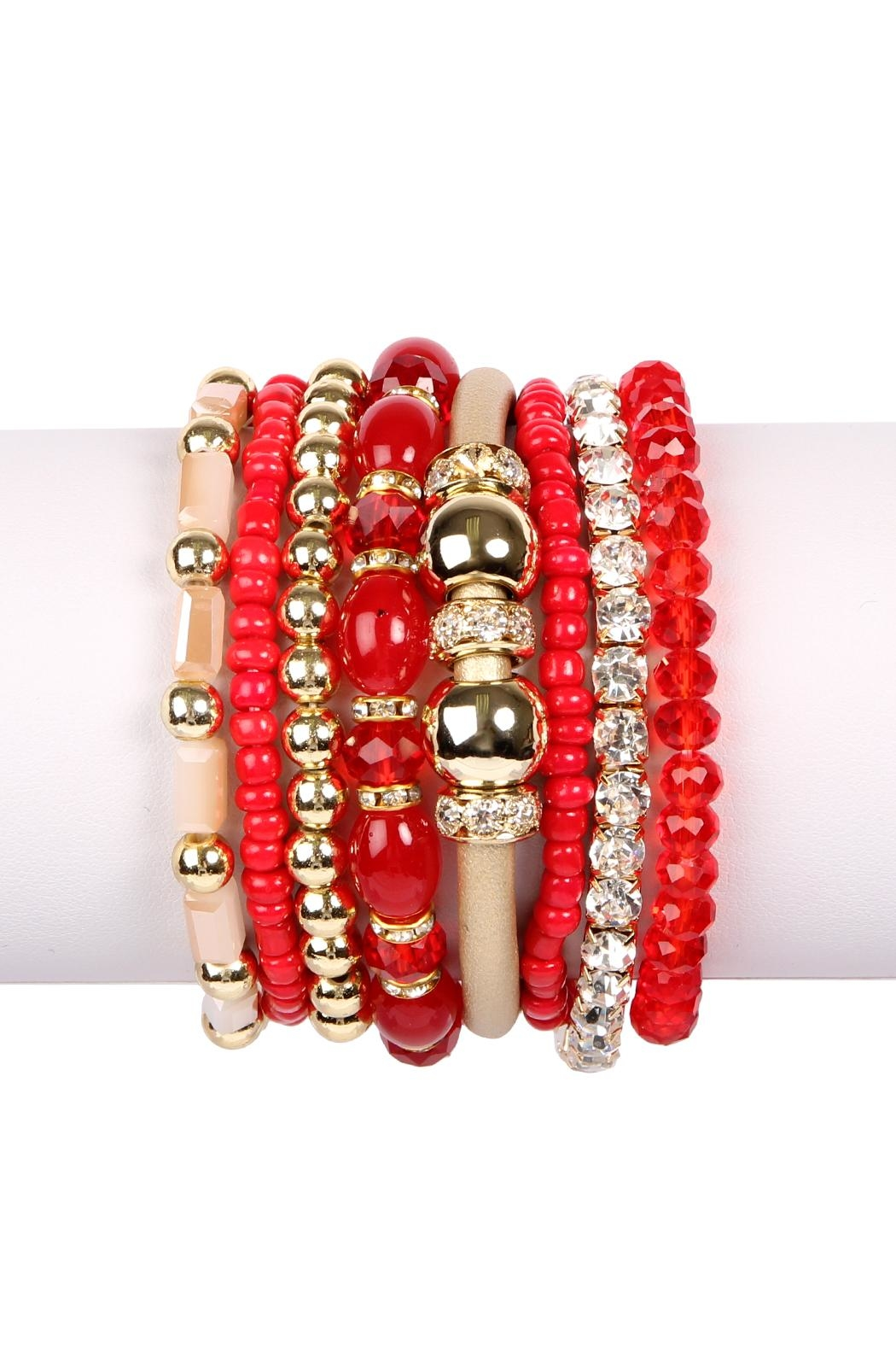 Riah Fashion Classic-Multi-Bead Bracelet Set - Front Cropped Image