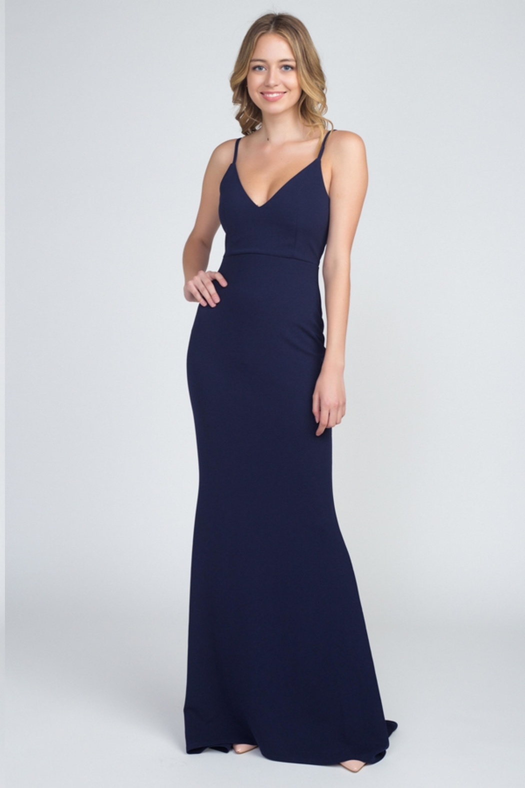 Minuet Classic Navy Gown - Front Cropped Image