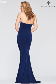 Faviana Classic Navy Gown - Front full body
