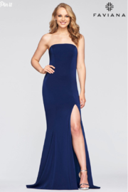 Faviana Classic Navy Gown - Front cropped