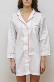 The Birds Nest CLASSIC NIGHT SHIRT-WHITE/CORAL - Product Mini Image