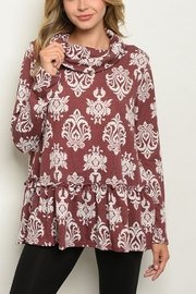 Lyn -Maree's Classic Print Cowl Neck - Front cropped