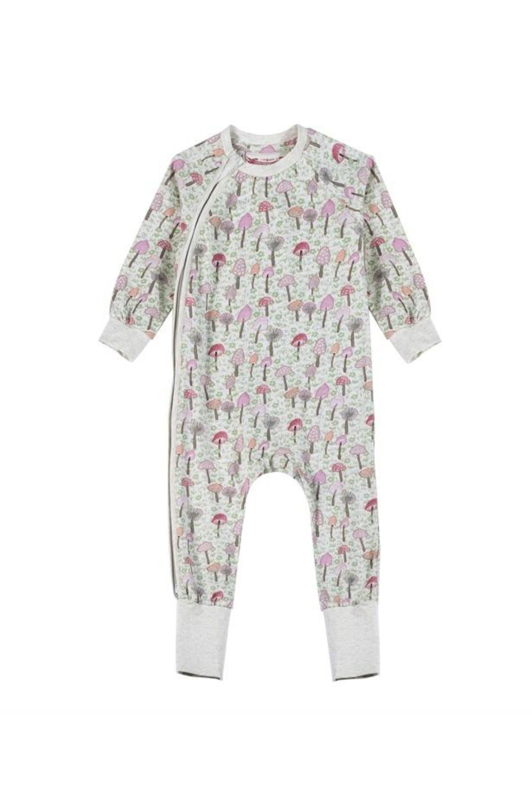 Paper Wings Classic Raglan Romper Mushrooms - Front Cropped Image