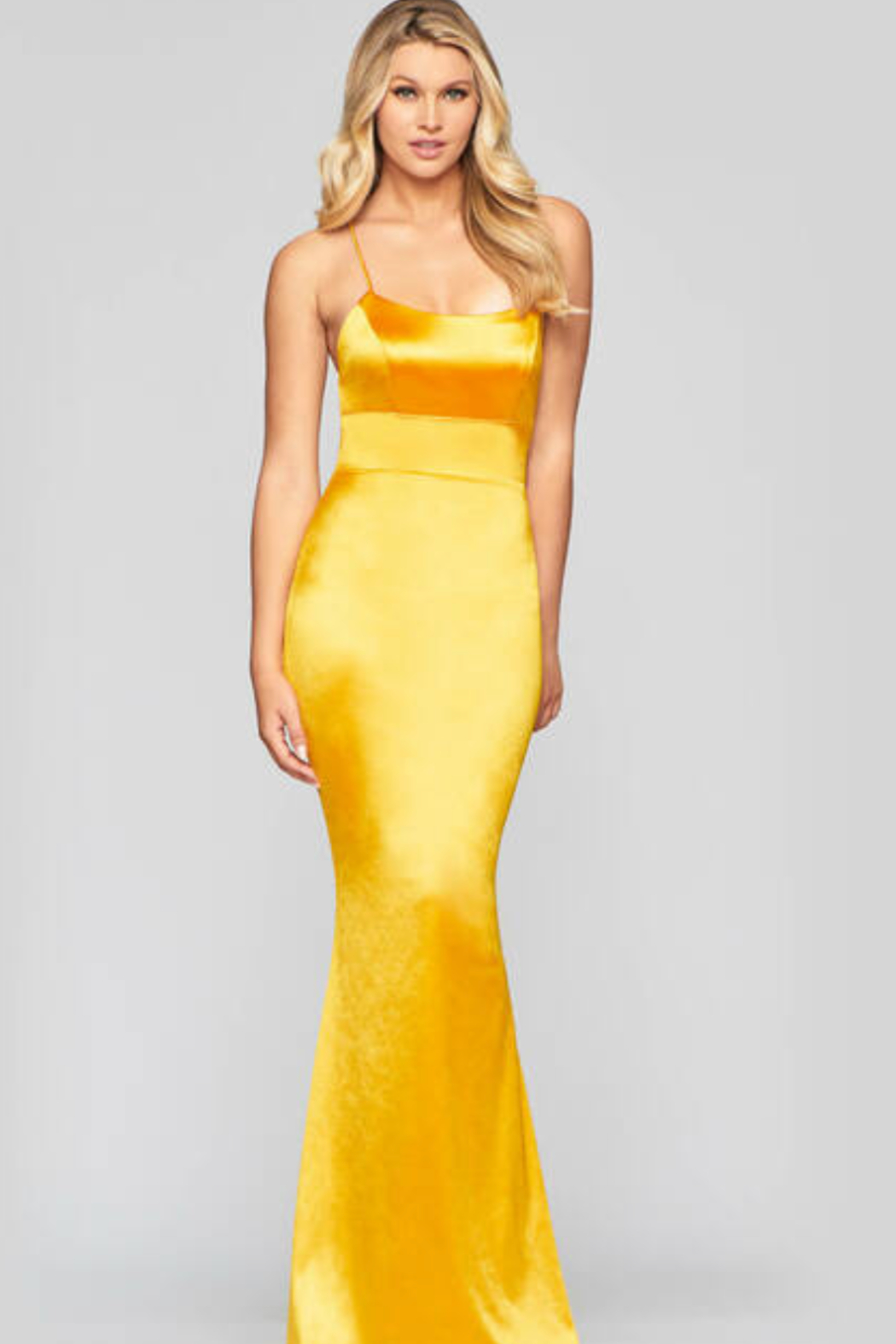 Faviana Classic Satin Gown - Front Full Image