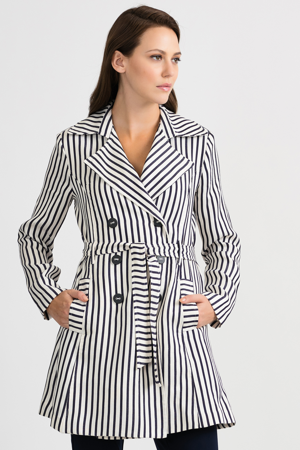 Joseph Ribkoff Classic Striped Tench Jacket, Nave/Offwhite - Front Cropped Image