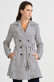 Joseph Ribkoff Classic Striped Tench Jacket, Nave/Offwhite - Front cropped