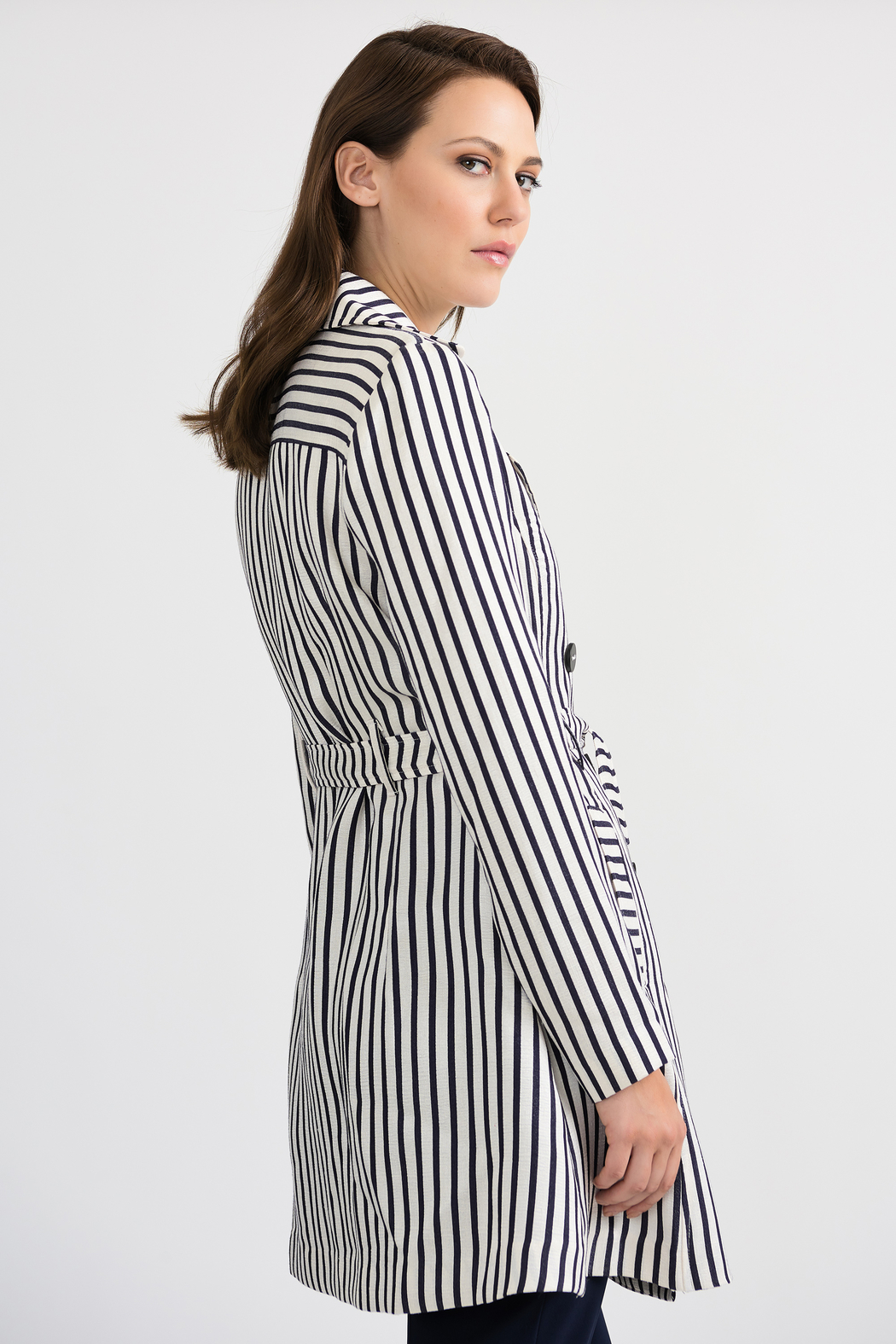 Joseph Ribkoff Classic Striped Tench Jacket, Nave/Offwhite - Front Full Image