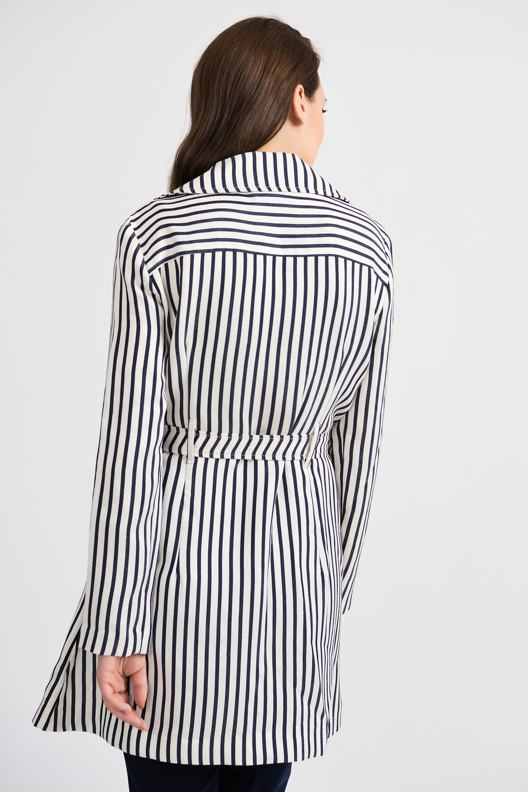 Joseph Ribkoff Classic Striped Tench Jacket, Nave/Offwhite - Side Cropped Image