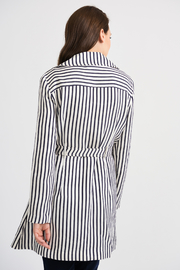 Joseph Ribkoff Classic Striped Tench Jacket, Nave/Offwhite - Side cropped
