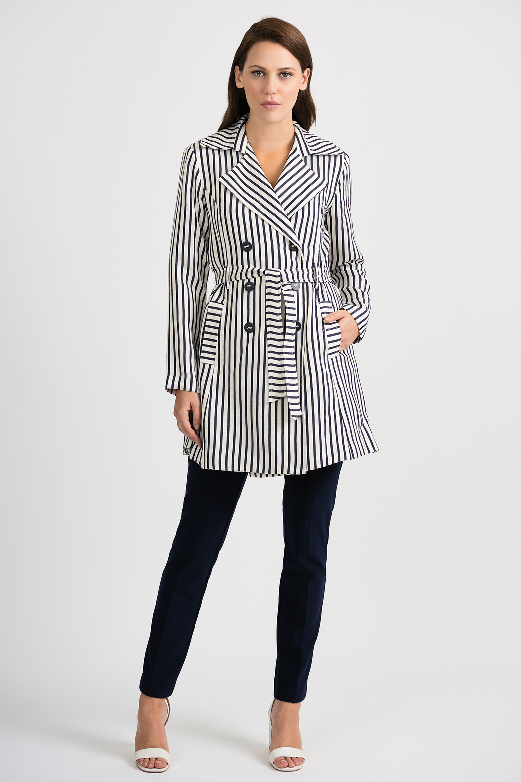 Joseph Ribkoff Classic Striped Tench Jacket, Nave/Offwhite - Back Cropped Image