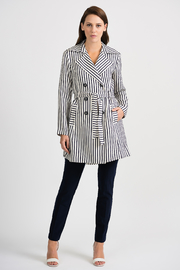 Joseph Ribkoff Classic Striped Tench Jacket, Nave/Offwhite - Back cropped