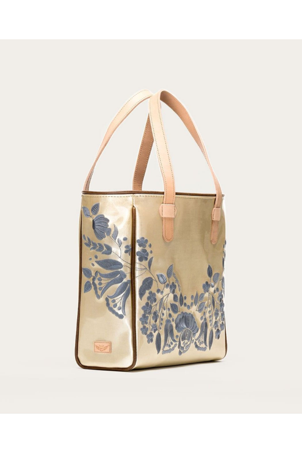 The Birds Nest CLASSIC VALENTINA TOTE-CHAMPAGNE - Front Full Image