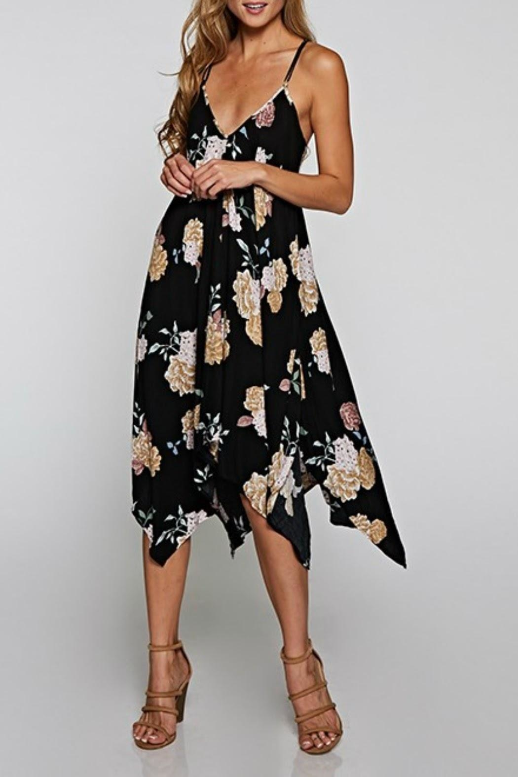 Classic Trendz Boutique Floral Handkerchief Dress - Front Cropped Image
