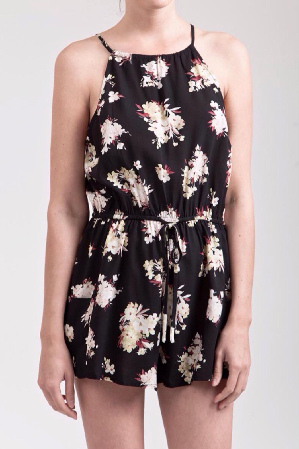Blu Pepper Floral Printed Romper - Front Cropped Image