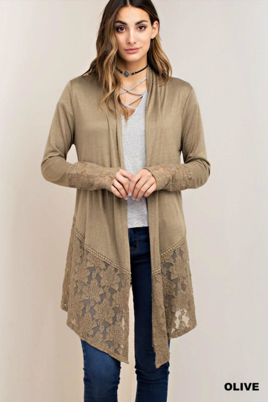 Classic Trendz Boutique Olive Lace Cardigan - Front Cropped Image