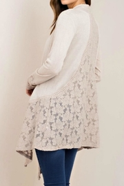 Classic Trendz Boutique Taupe Lace Cardigan - Front full body