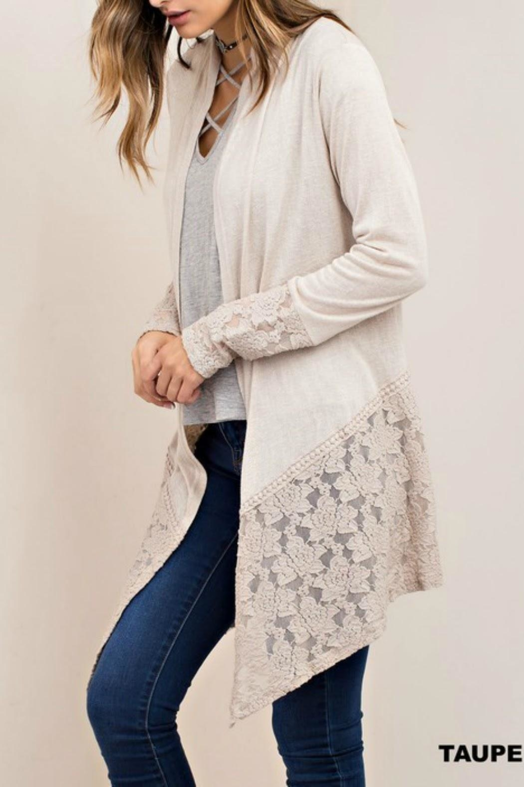 Classic Trendz Boutique Taupe Lace Cardigan - Main Image