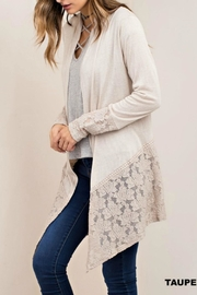 Classic Trendz Boutique Taupe Lace Cardigan - Front cropped