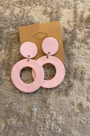 Necessary Creations Clay Peony Pink Earrings - Product Mini Image