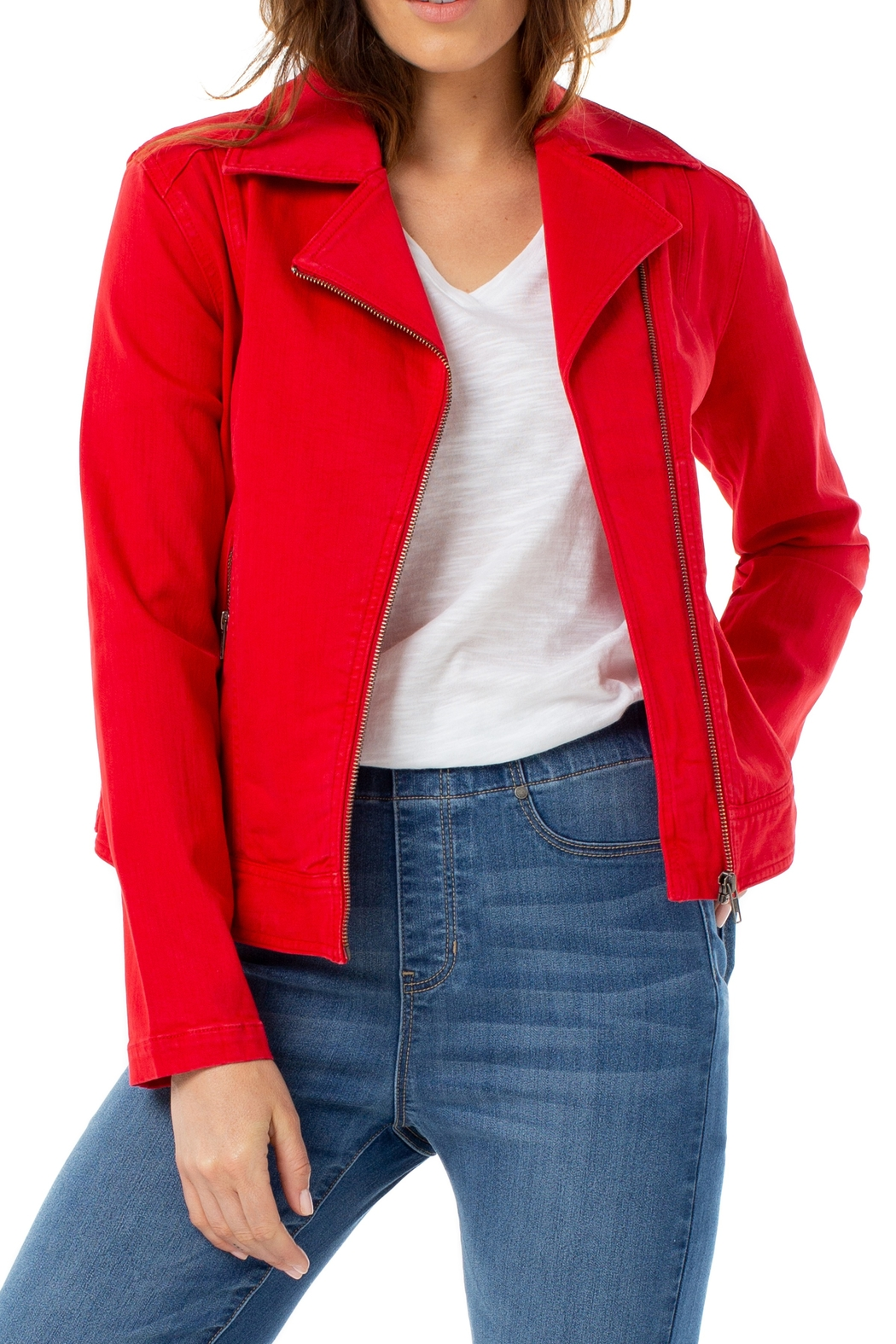 Liverpool  Clean Moto Jacket - Front Cropped Image