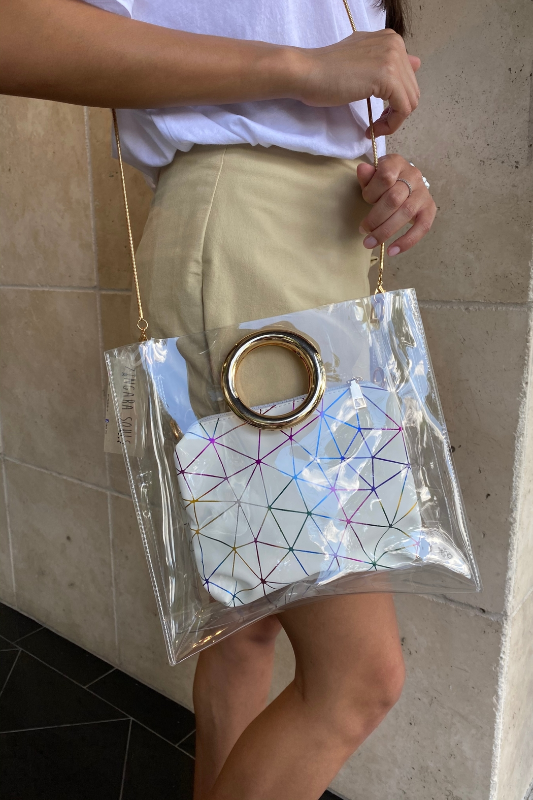 Handbag Express Clear Bag with Geo Pouch - Main Image