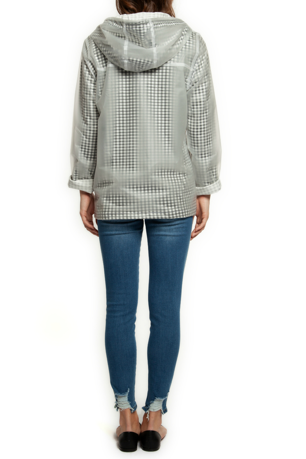 Dex Clear Gingham Lined Raincoat w Hood - Front Full Image