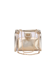 The Birds Nest CLEAR/GOLD GAMEDAY PURSE - Front cropped