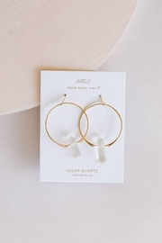 JaxKelly Clear Quartz Hoop Earrings - Product Mini Image