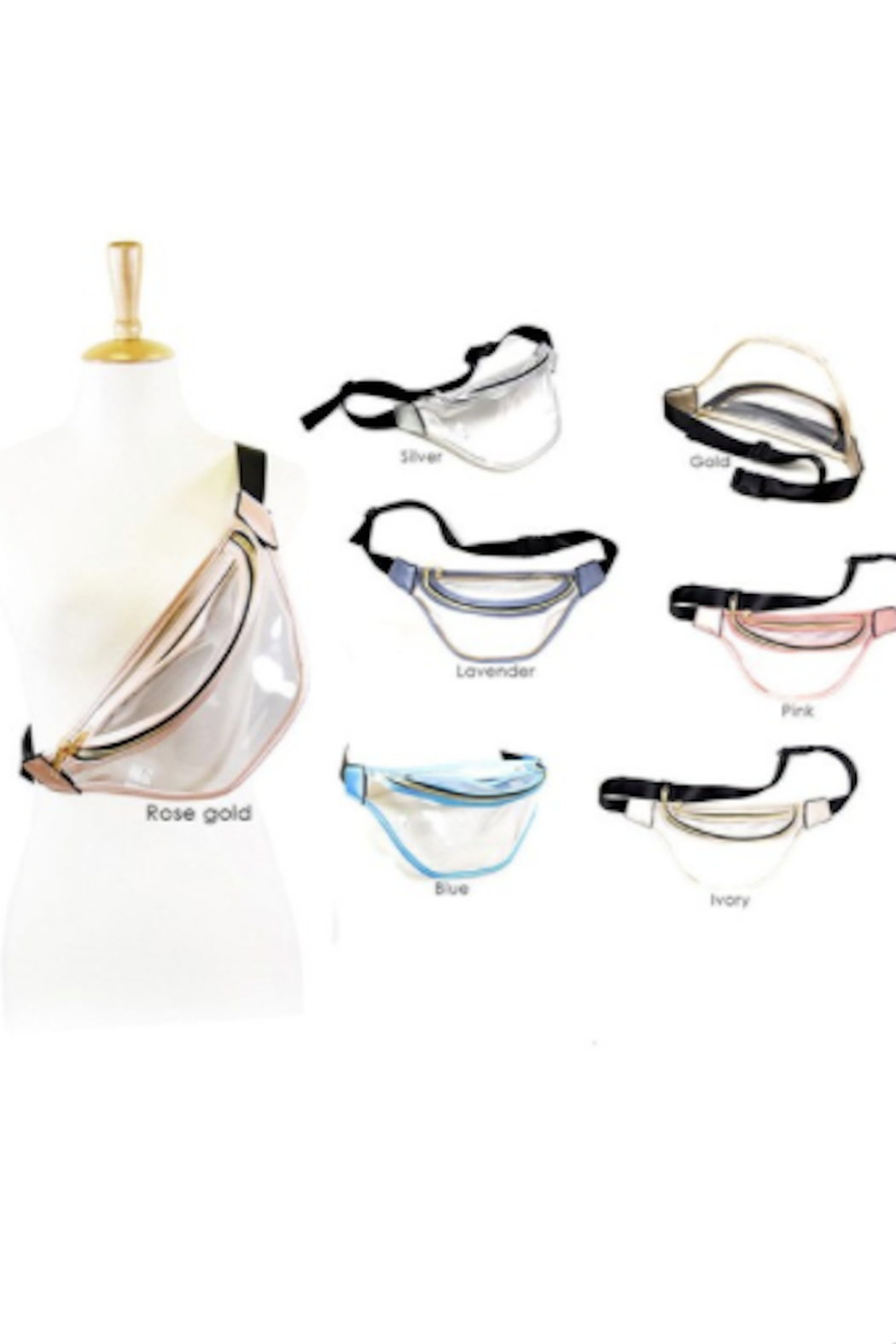 Wona Trading Clear Solid Trim Fanny Pack - Front Full Image