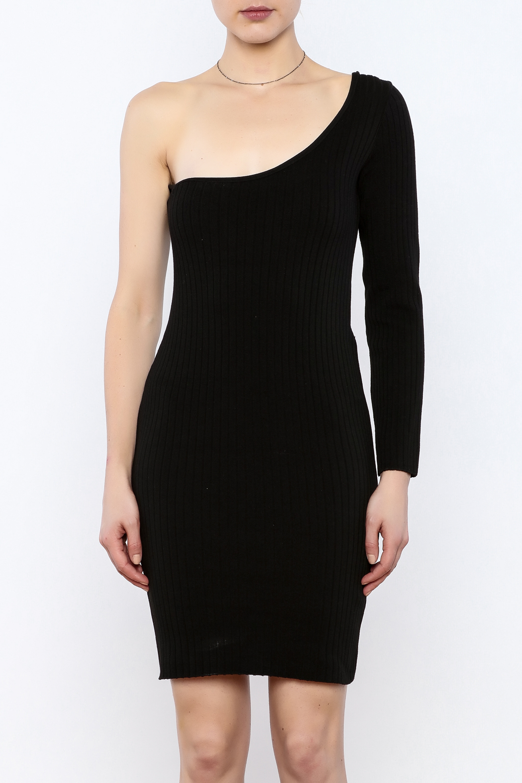 Cleo Black Knit Dress - Side Cropped Image