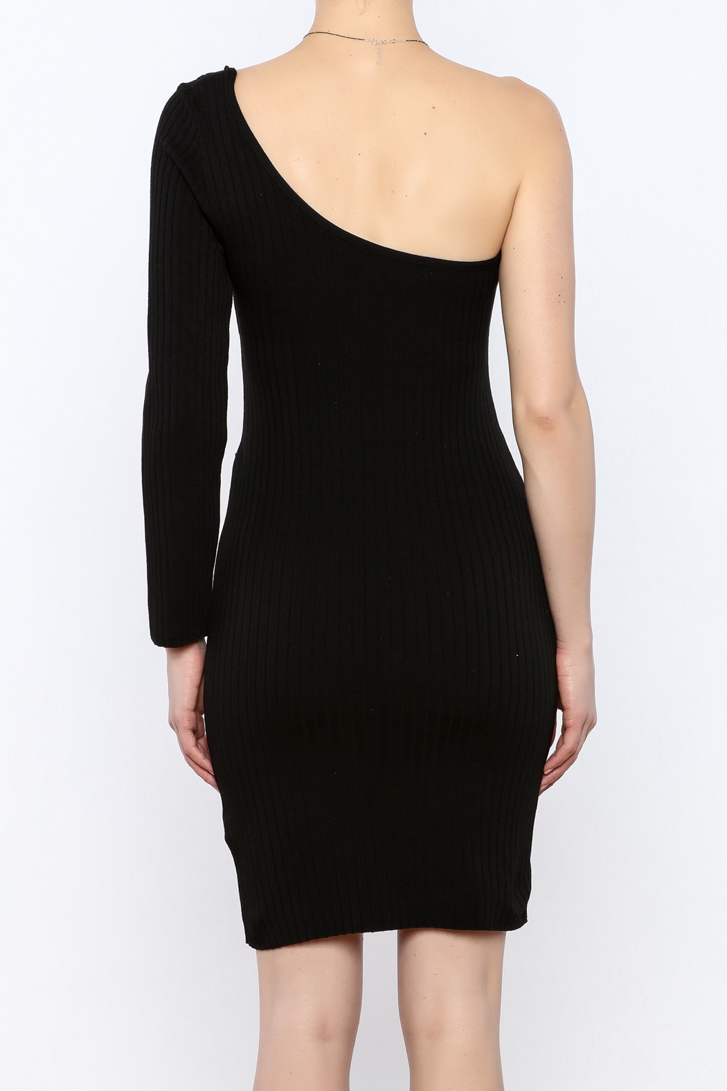 Cleo Black Knit Dress - Back Cropped Image