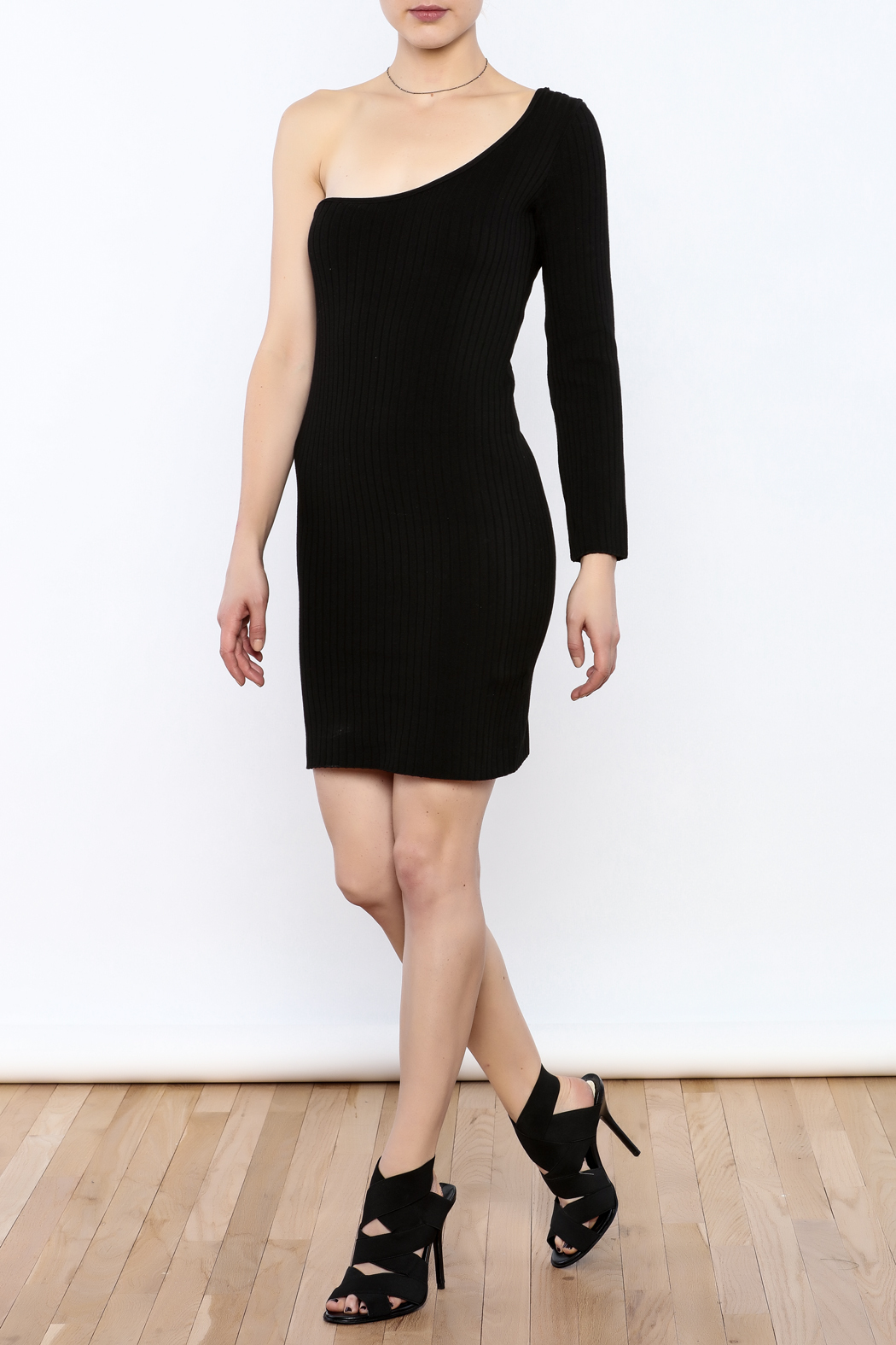 Cleo Black Knit Dress - Front Full Image
