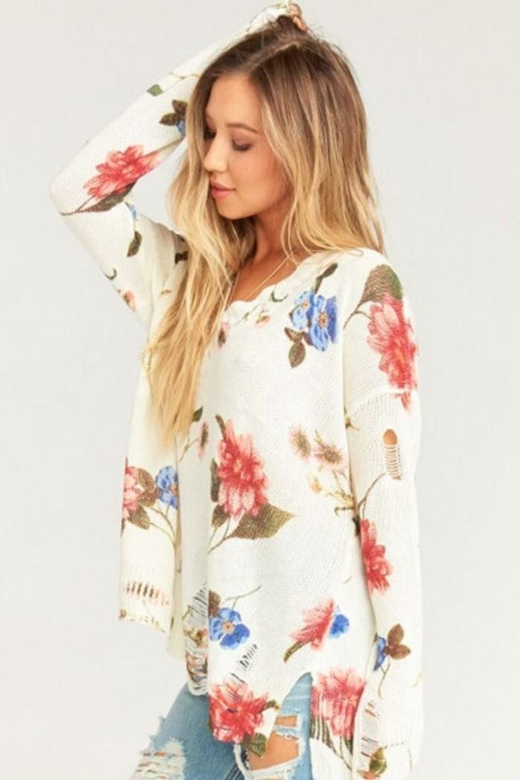 Show Me Your Mumu Cliffside Distressed Sweater - Front Full Image