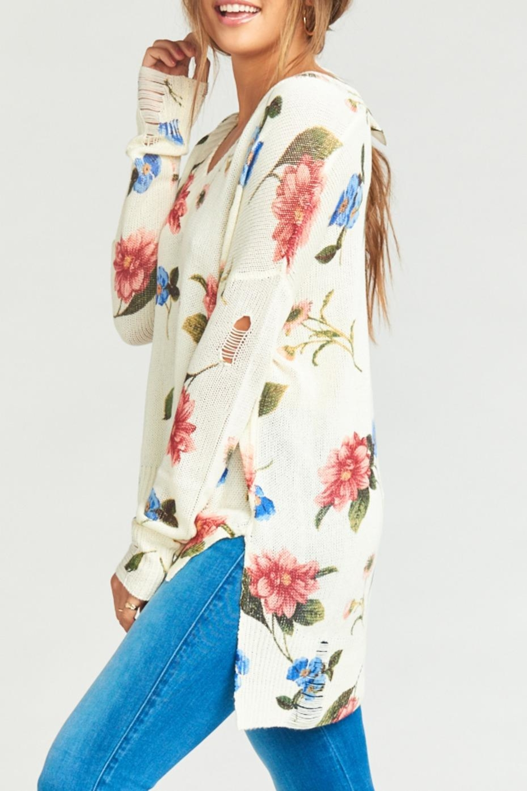 Show Me Your Mumu Cliffside Distressed Sweater - Side Cropped Image