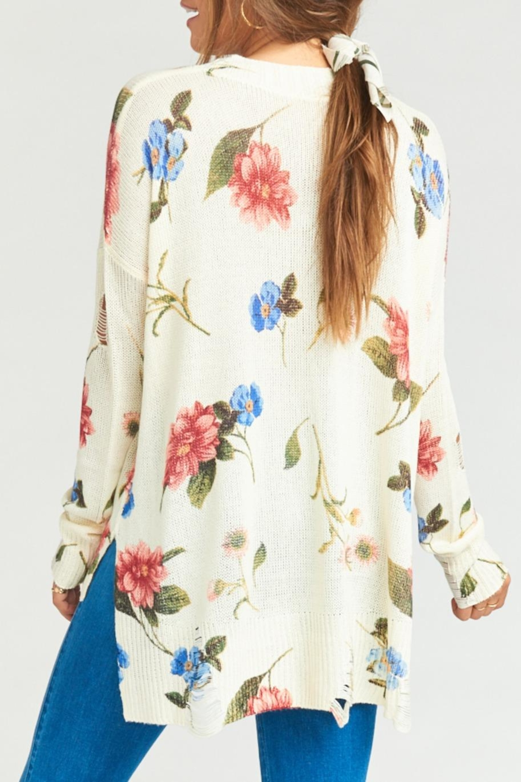 Show Me Your Mumu Cliffside Distressed Sweater - Back Cropped Image