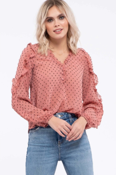 Mine Clip Dot Ruffled Top - Product List Image