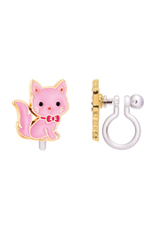 Girl Nation  Clip On Cutie Earrings - Pink Kitty - Front cropped
