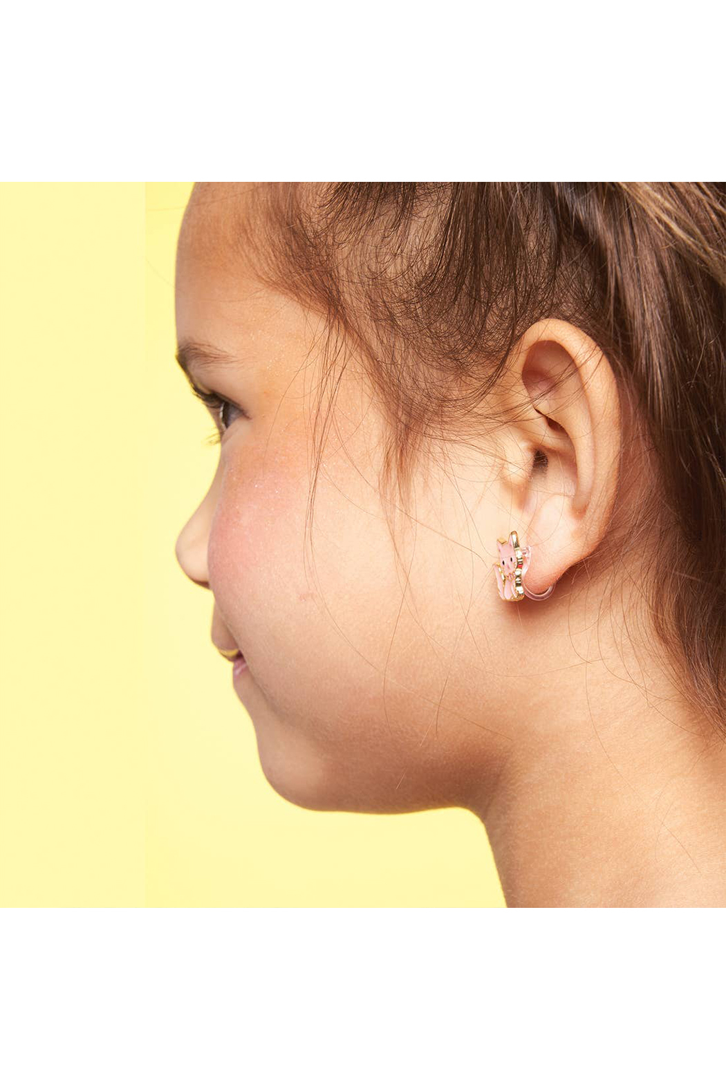 Girl Nation  Clip On Cutie Earrings - Pink Kitty - Side Cropped Image