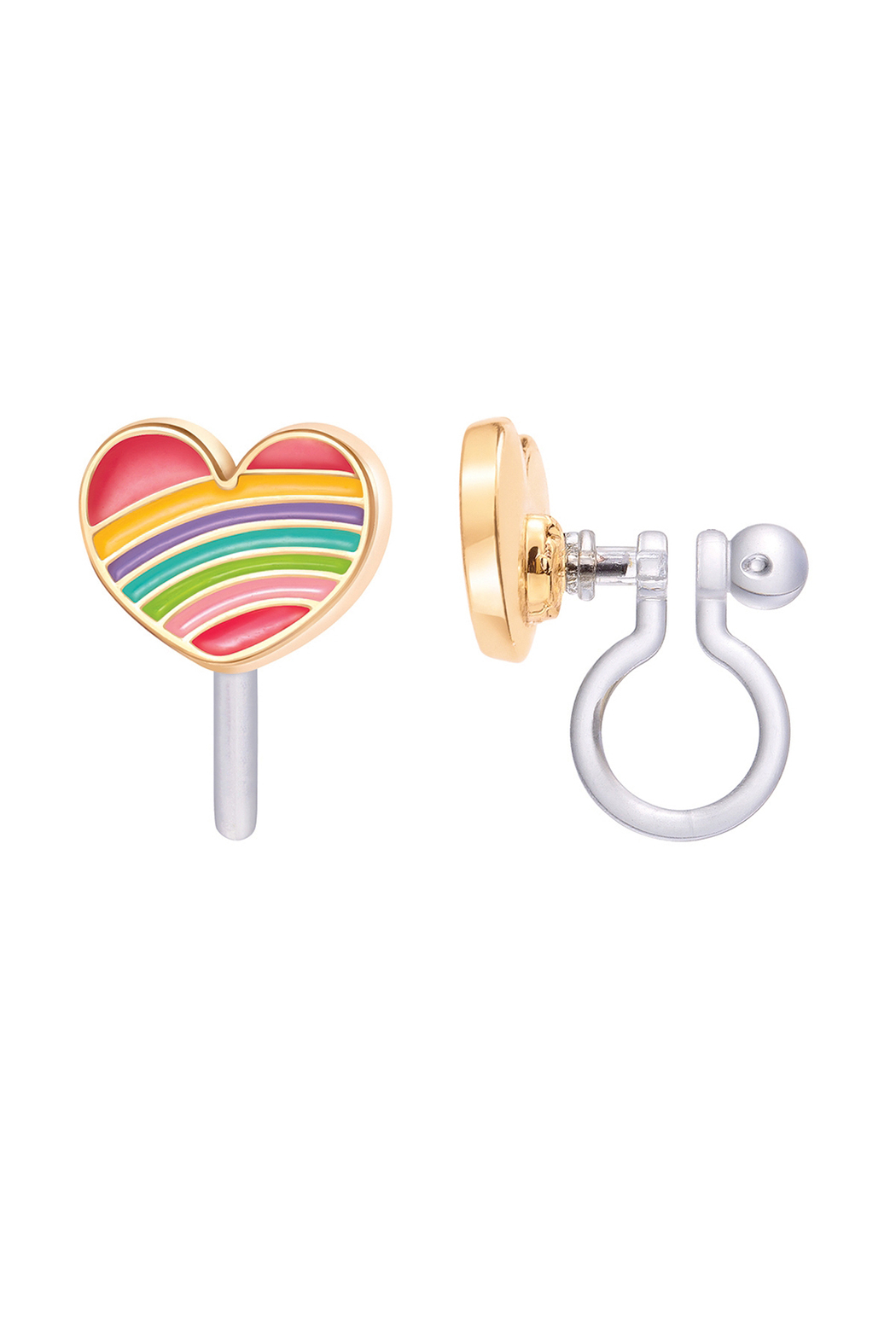 Girl Nation  Clip On Cutie Earrings - Rainbow Heart - Front Cropped Image