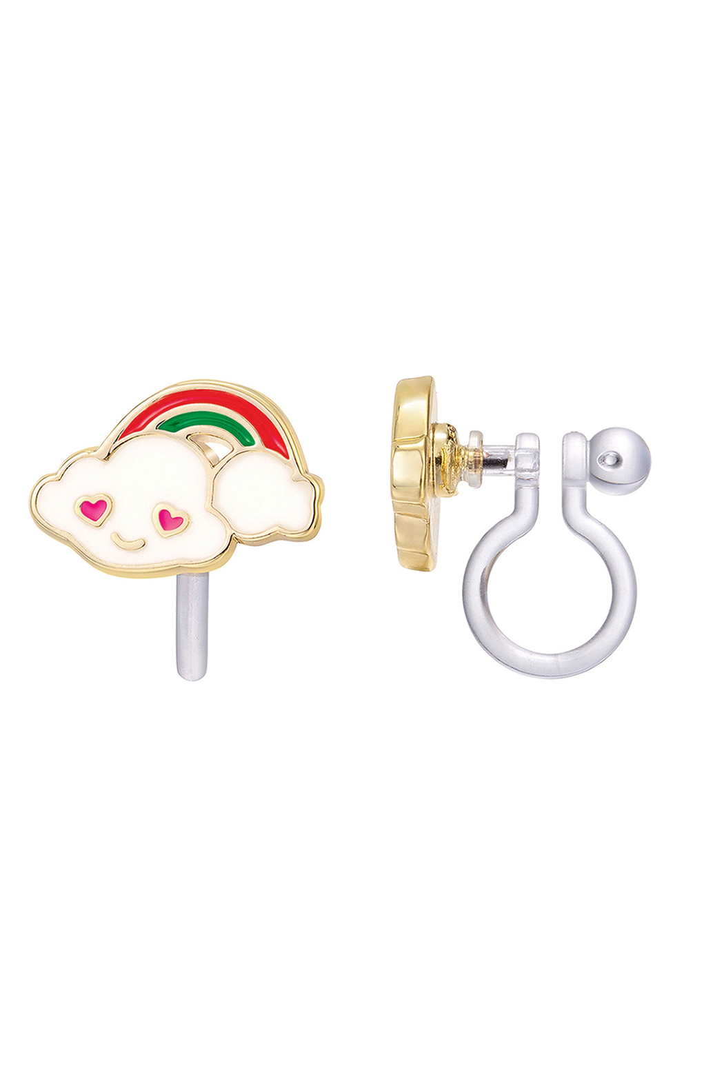 Girl Nation  Clip On Cutie Earrings - Cloud Luvs Rainbow - Front Cropped Image