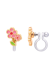 Girl Nation  Clip On Cutie Earrings - Little Pink Flowers - Front cropped