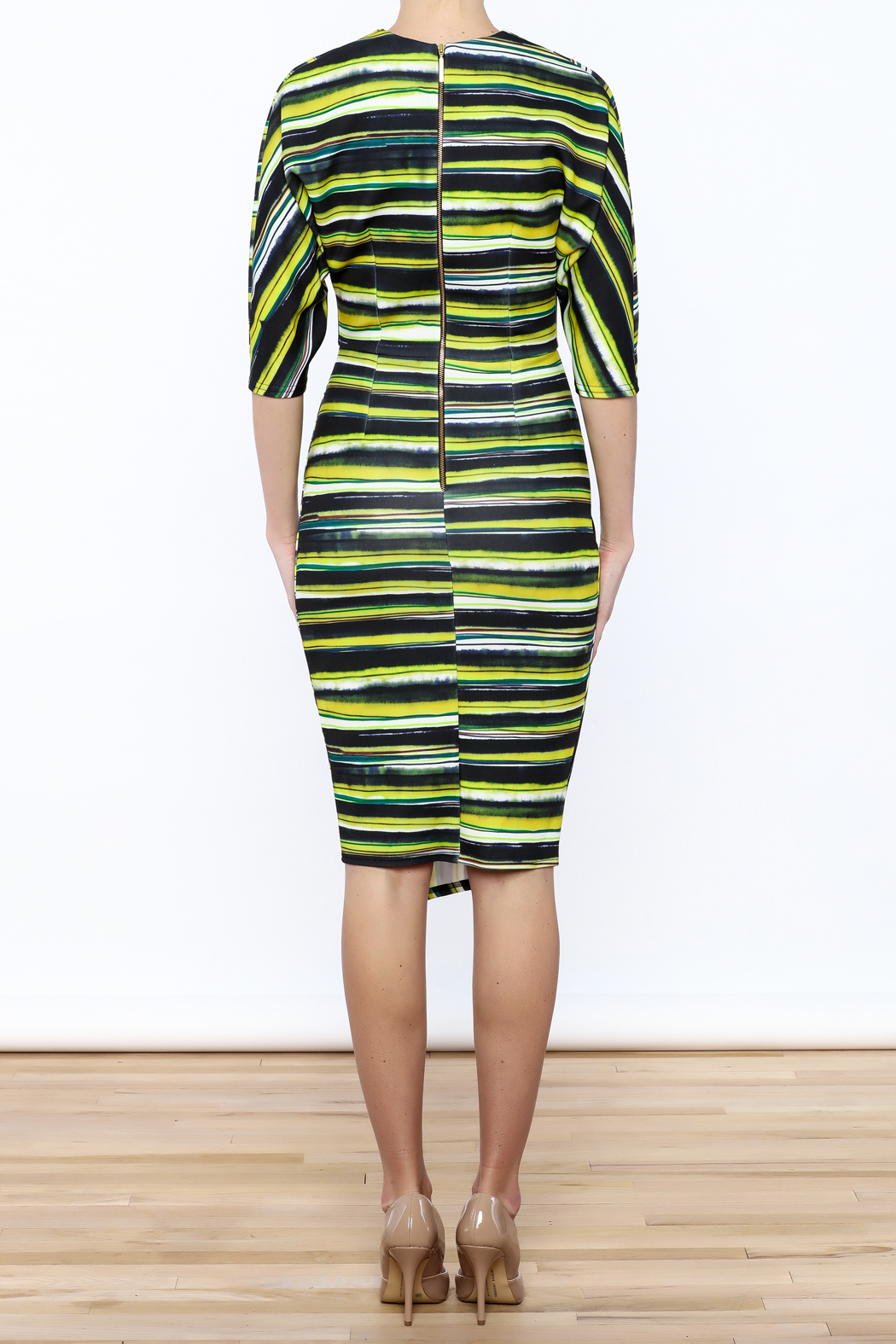 Closet Navy And Green Faux Wrap Dress - Back Cropped Image