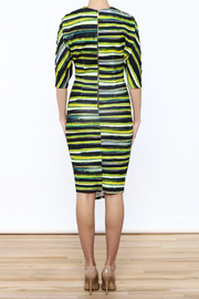 Closet Navy And Green Faux Wrap Dress - Back cropped