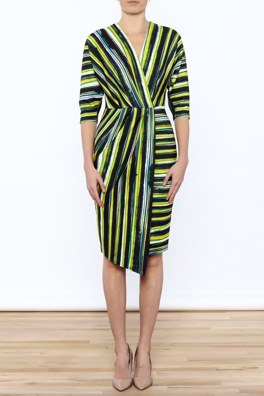 Closet Navy And Green Faux Wrap Dress - Front Cropped Image