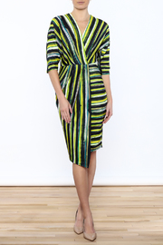 Closet Navy And Green Faux Wrap Dress - Product Mini Image