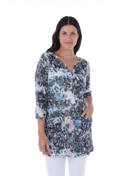 Clotheshead Blue Print Pullover Crinkle Top - Product List Image
