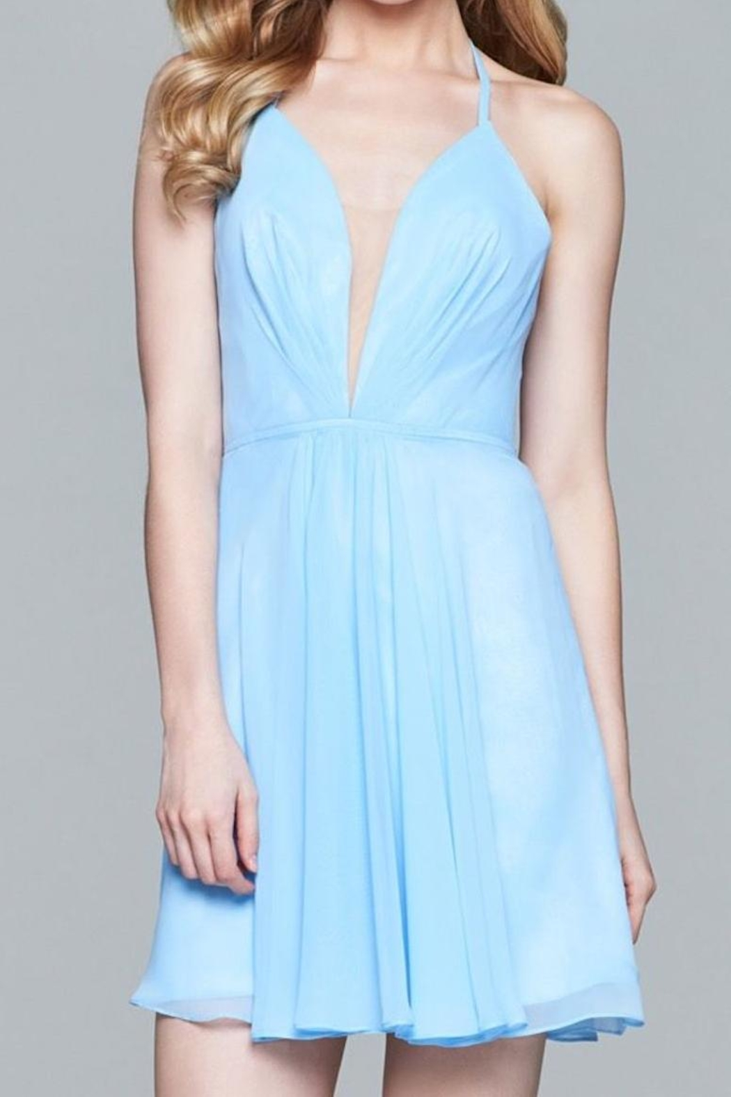 Faviana Cloud Blue Dress - Front Cropped Image