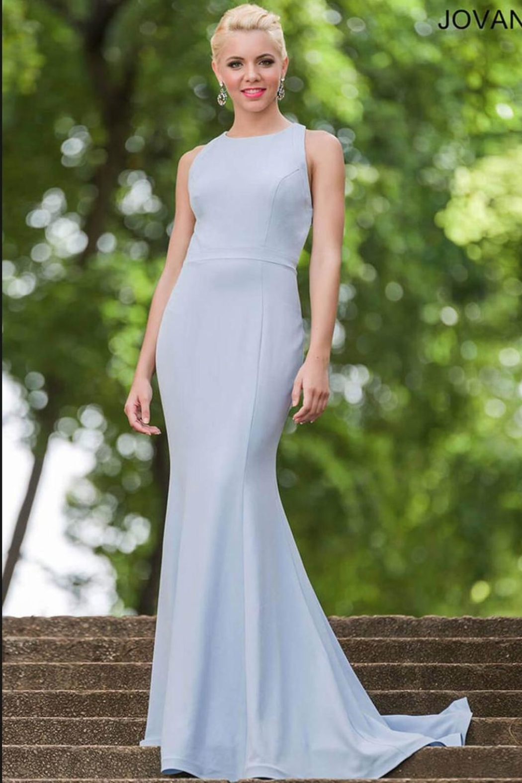 Jovani Cloud Blue Gown - Side Cropped Image